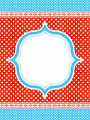 blue and red polka dot pattern frame