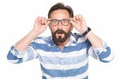 Man In Glasses With Shocked, Amazed Expression Isolated On White Background. Frustrated Bearded Youn poster