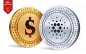 Cardano. Dollar Coin. 3d Isometric Physical Coins. Digital Currency. Cryptocurrency. Golden And Silv poster
