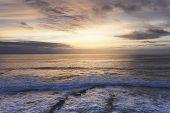 Sunlight Sunset On Horizon Ocean On Background Seascape Rays Sunrise. Relax View Waves Sea On Evenin poster