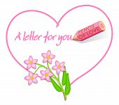 Love Note With Wild Pink Flowers