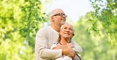 family, old age and relationships concept - happy senior couple over green natural background poster