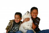 Dog And Kids Having Fun