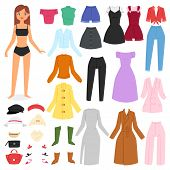 Clothes Woman Vector Beautiful Girl And Dress Up Or Clothing With Fashion Pants Dresses Or Shoes Ill poster