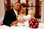 foto of wedding couple  - Wedding Portrait of Latino Couple - JPG