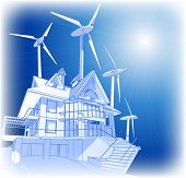 Ecology concept: wind-driven generators & house with solar power systems. Bitmap copy my vector