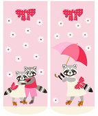 Various Socks With Cute Raccoons. Vector Template. Anime Style. poster