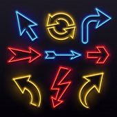 Neon Light Arrows. Colorful Bulb Lines Arrow. Nightlife Tube Lights Nightlife Bar Entertainment Arro poster