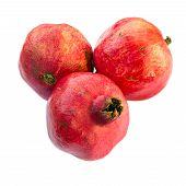 Three Pomegranates, Isolated On White Background