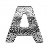 chrome alphabet symbol - letter A. Water splashes and drops on glossy metal. Isolated on white