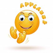 Joyful Emoticon Applauds. Cheerful Emoji Claps His Hands Happily. Stormy Applause. Ovation. Vector I poster