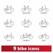 Bicycle Thin Line Icons Set. Vector Collection Of Different Bike Signs. Bmx, Tandem, E-bike, City An poster