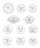 Colorless Set Of Solar System Planets. Vector Illustration Isolated On White Background. Solar Syste poster