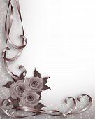 foto of white flower  - 3D Illustrated Ribbons and roses design element for Valentine or wedding background border or frame - JPG