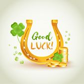 Good Luck Golden Horseshoe With Lucky Four Leaves Clover. Good Luck And Wealth Symbols. Good Luck Ve poster