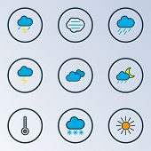 Climate Icons Colored Line Set With Cloudy Day, Degree, Nimbus And Other Cloudburst Elements. Isolat poster