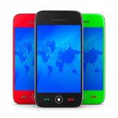 Three phone on white background. Isolated 3D image