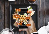 Taking Food Photograph By Mobile Smart Phone, And Sharing On Social Media, Social Network With Notif poster