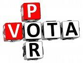 foto of por  - 3D Vota Por Crossword on white background - JPG