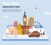 Traveling Family On Vacation. Parents And Children Travel World. Design For Travel Agency. Time To T poster