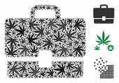 Case Mosaic Of Hemp Leaves In Different Sizes And Color Tones. Vector Flat Hemp Leaves Are Grouped I poster