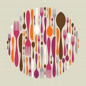 Forma de círculo de ícones de talheres