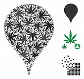 Map Marker Collage Of Weed Leaves In Different Sizes And Color Tinges. Vector Flat Weed Items Are Gr poster