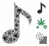 Musical Note Composition Of Weed Leaves In Variable Sizes And Color Tinges. Vector Flat Hemp Icons A poster