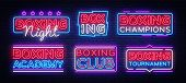 Boxing Neon Signs Collection Vector. Boxing Night Text Design Template Neon Sign, Light Banner, Neon poster