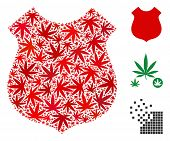 Police Shield Composition Of Hemp Leaves In Different Sizes And Color Variations. Vector Flat Hemp E poster