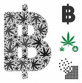 Thai Baht Collage Of Marijuana Leaves In Various Sizes And Color Tints. Vector Flat Marijuana Elemen poster
