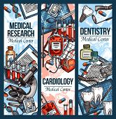 Dentistry And Cardiology Medical Sketch Banners For Health Clinic And Treatment. Vector Dental And C poster