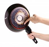 The Frying Pan Scorching Fat In A Hand On A White Background Isolation poster
