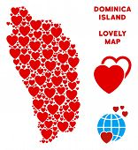 Постер, плакат: Valentine Dominica Island Map Composition Of Red Hearts We Like Dominica Island Map Concept Abstra