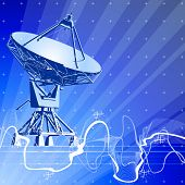 Satellite dishes antenna (doppler radar), digital wave & blue technology background. Bitmap copy my