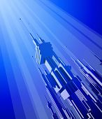 Megacity - blue futuristic technology background. Bitmap copy my vector ID 27135085