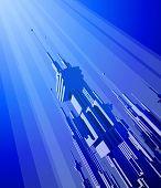 Megacity - blue futuristic technology background. Bitmap copy my vector ID 27135085