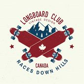Longboard Club Badge. Vector Illustration. Extreme Sport. For Skate Club Emblems, Signs And T-shirt  poster