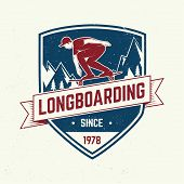 Downhill Boarding Club Badge. Vector. Extreme Sport. For Skate Club Emblems, Signs And T-shirt Desig poster