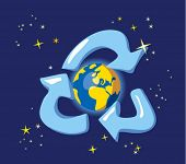 Keep the Earth - recycle. Allegory with globe and space Ecology concept. Naive style vector illustra