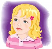 Kid, child, adorable little girl with blond hair and blue eyes. Vector illustration
