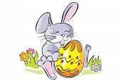 Cute rabbit holding Easter egg. Artistic vector illustration