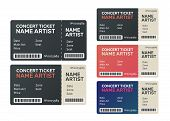 Concert Tickets Isolated. Music, Dance, Live Concert Tickets Templates poster