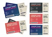 Set Of Colorful Concert Tickets. Music, Dance, Live Concert Tickets Templates poster
