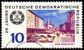 Deutschen Stadt Karl-marx-stadt auf Post Briefmarke