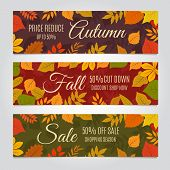 Fall Sale Banners. Autumn Offer And Season Discounts Advertising Background With Yellow Leaves. Vect poster