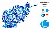 Постер, плакат: Afghanistan Map Collage Of Blue Triangle Items In Different Sizes And Shapes Vector Triangles Are C