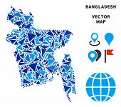 Bangladesh Map Collage Of Blue Triangle Elements In Various Sizes And Shapes. Vector Polygons Are Co poster