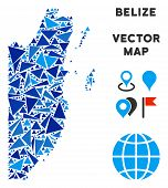 Belize Map Collage Of Blue Triangle Elements In Different Sizes And Shapes. Vector Triangles Are Gro poster