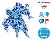 Peloponnese Peninsula Map Collage Of Blue Triangle Items In Variable Sizes And Shapes. Vector Triang poster